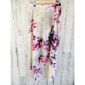 DKNYC Hi Lo Tulip Hem Maxi Skirt Rose Print